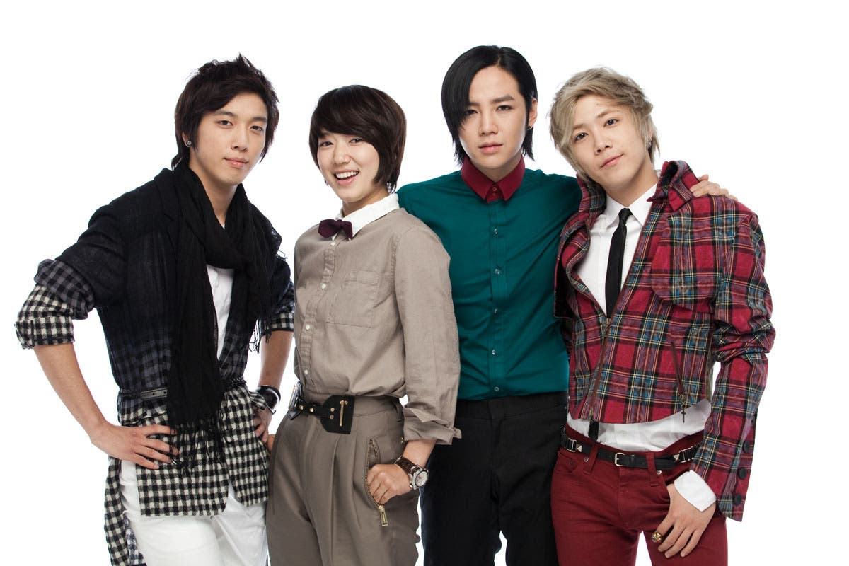 He's Beautiful cast members (L-R) Jung Yong Hwa, Park Shin Hye, Jang geun Suk, and Lee Hong Ki