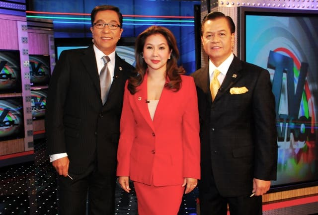 Ted Failon, Korina Sanchez, and Noli de Castro on the set of the country's most credible and number one newscast TV Patrol