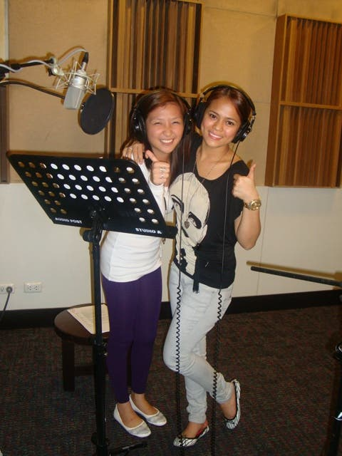 Krissel and Monica during a dubbing session for Hero TV's 'Lovely Idol'
