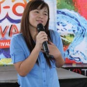 Crystal Reyes during the Kapuso Barangayan at Sendong Relocation Siute Barangay Calaanan