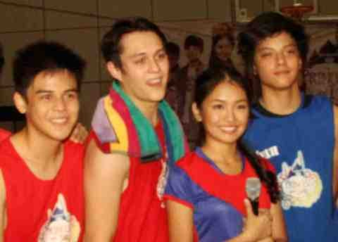 Kathryn with Enrique, Khalil and Daniel in the recentlly held 'Princess and I Royal Fair'