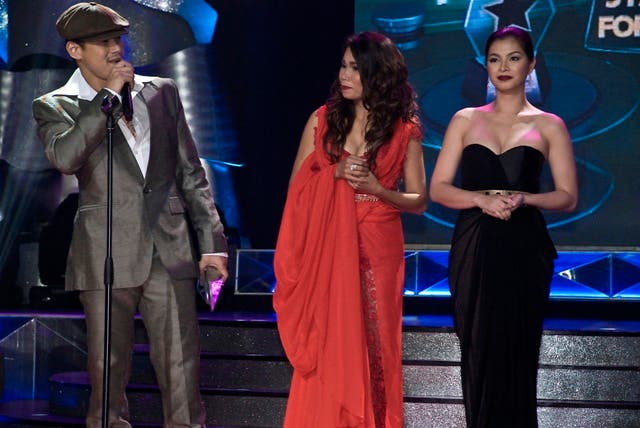 Robin Padilla, Pokwang, and Angel Locsin during the PMPC Star Awards