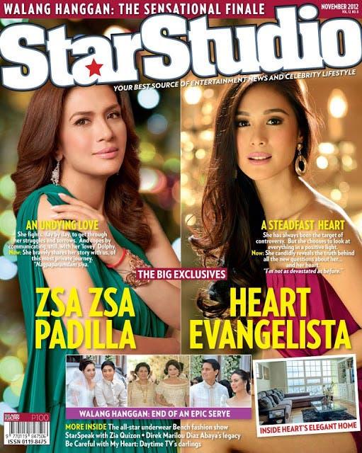 Zsa Zsa Padilla and Heart Evangelista Cover StarStudio November 2012 issue