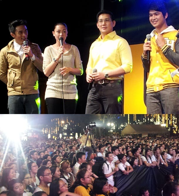 Jodi, Richard and 'Kuya Luke' of Be Careful With My Heart thanked their Thomasian fans during the USTV Awards Kick-Off party.jpg