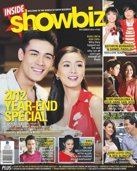Kim Chiu and Xian Lim Cover Inside Showbiz Dec 2012