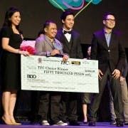 Jude Thaddeus Gitamondoc and Erik Santos accept TFC Choice Award