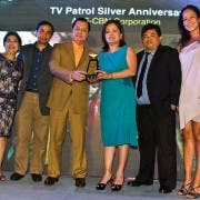 ABS-CBN News' May Purificacion, Henry Omaga Diaz, Noli De Castro, NCAD head Ging Reyes, Bert Apostol, and PRSP's Leah Caringal for TV Patrol Silver Anniversary