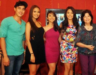 (l-r) Victor Silayan, Megan Young, Malak So Shdifat, Ritz Azul, Boots Anson Roa (Bayani Bravante/TV5)