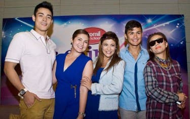 Xian Lim, Dimples Romana, Pinky Amador, Matteo Guidicelli, and Georcelle Dapat at the Promil Pre-School i-Shine Talent Camp 2 PressCon