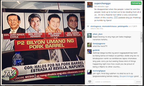 Enchong Dee posted on his Instagram account disappointment over the senators who are involved in the Pork Barrel scam. – From @superchonggo on Instagram