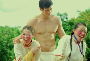 Edward Mendez with leading ladies Marian Rivera and AiAi Delas Alas for Kung Fu Divas movie