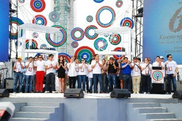 ABS-CBN executives, stars, news anchors with MTRCB chairman Atty. Toto Villareal at the Grand Kapamilya Weekend opening ceremony