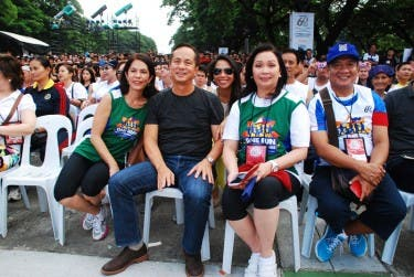 ABS-CBN managing director Gina Lopez, chairman Gabby Lopez, head of broadcast Cory Vidanes, and corporate communications head Bong Osorio