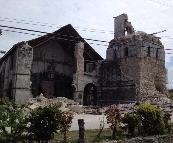 Baclayon Church in Bohol was damaged by the Earthquake too. Photo from Jurisparens on Twitter.