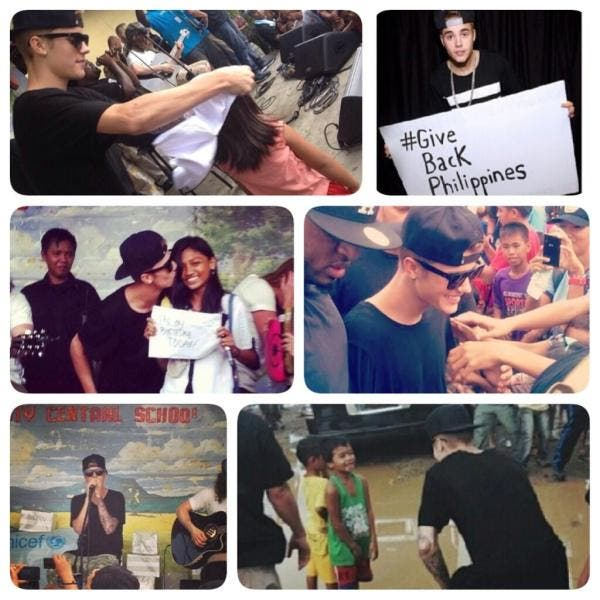 Photo collage of Justin Bieber while in Tacloban City, Philippines on December 10 to visit Typhoon Haiyan victims