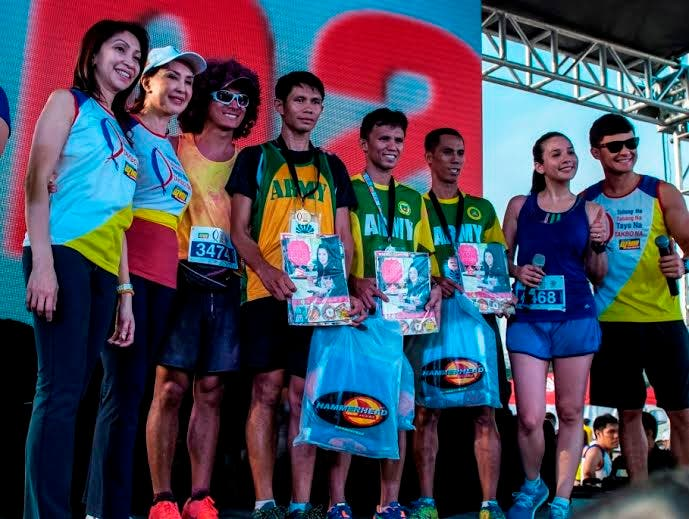 DZMM Takbo Na men's category 1st placer Jujiet De Asis, 2nd placer Alquin Bolivar, and 3rd placer Alley Quisay