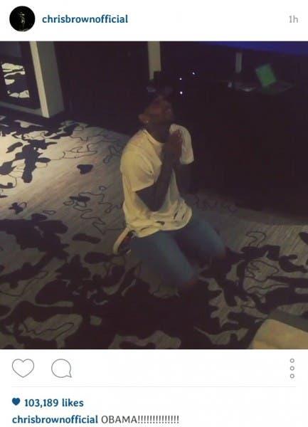"Chris Brown shared a video on social media on Thursday ""praying"" to President Barack Obama."