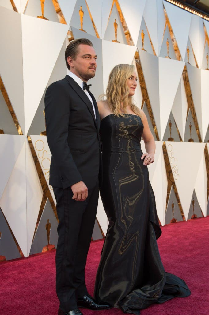 Oscar®-nominees, Leonardo DiCaprio and Kate Winslet, arrive at The 88th Oscars® at the Dolby® Theatre in Hollywood, CA on Sunday, February 28, 2016.