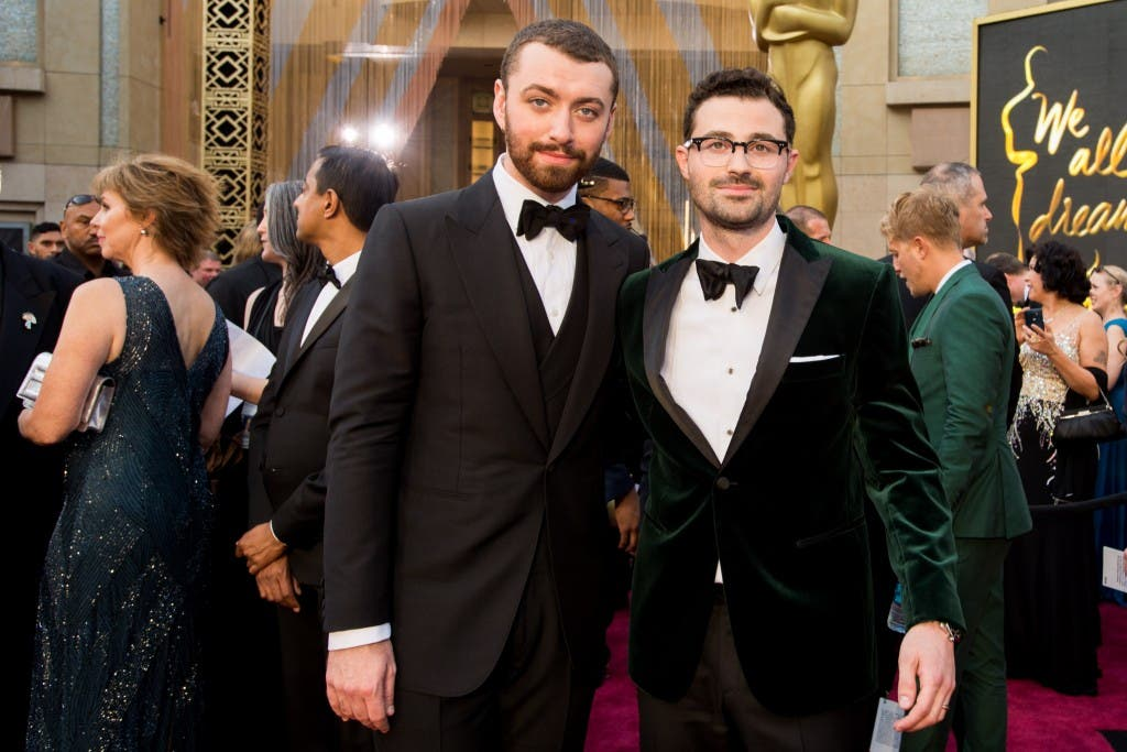 Oscar®-nominees Sam Smith and Jimmy Napes arrive at The 88th Oscars® at the Dolby® Theatre in Hollywood, CA on Sunday, February 28, 2016.