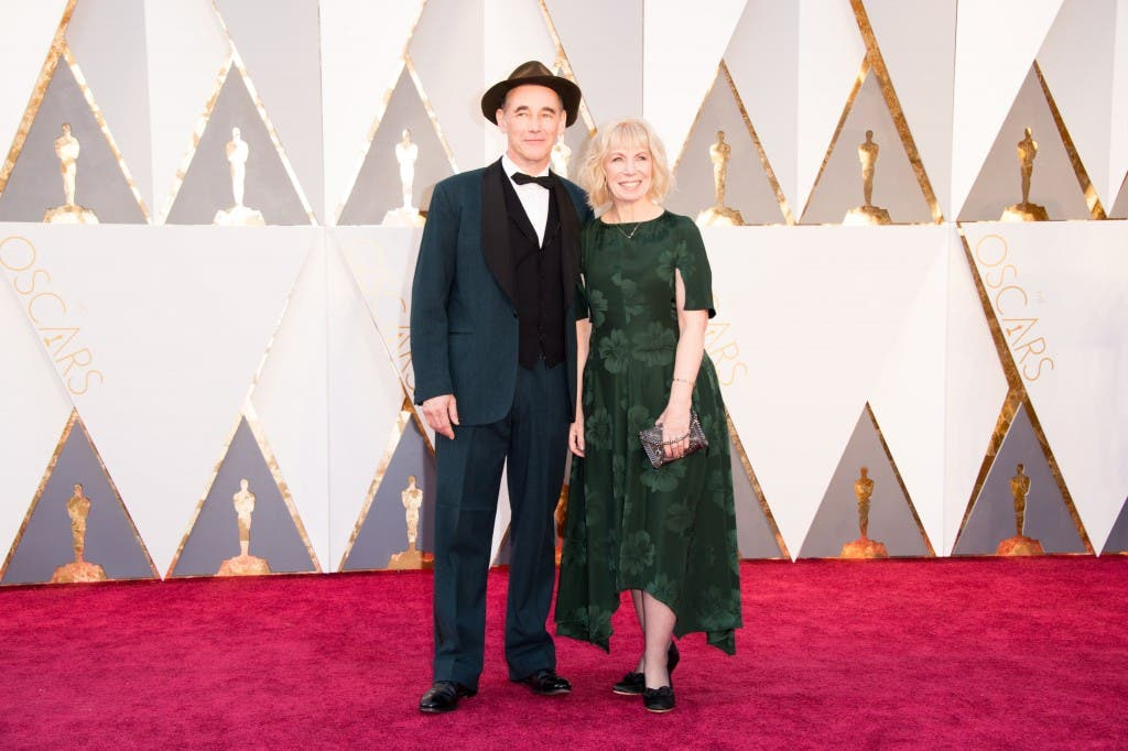 Oscar®-nominee, Mark Rylance, arrives with guest at The 88th Oscars® at the Dolby® Theatre in Hollywood, CA on Sunday, February 28, 2016.