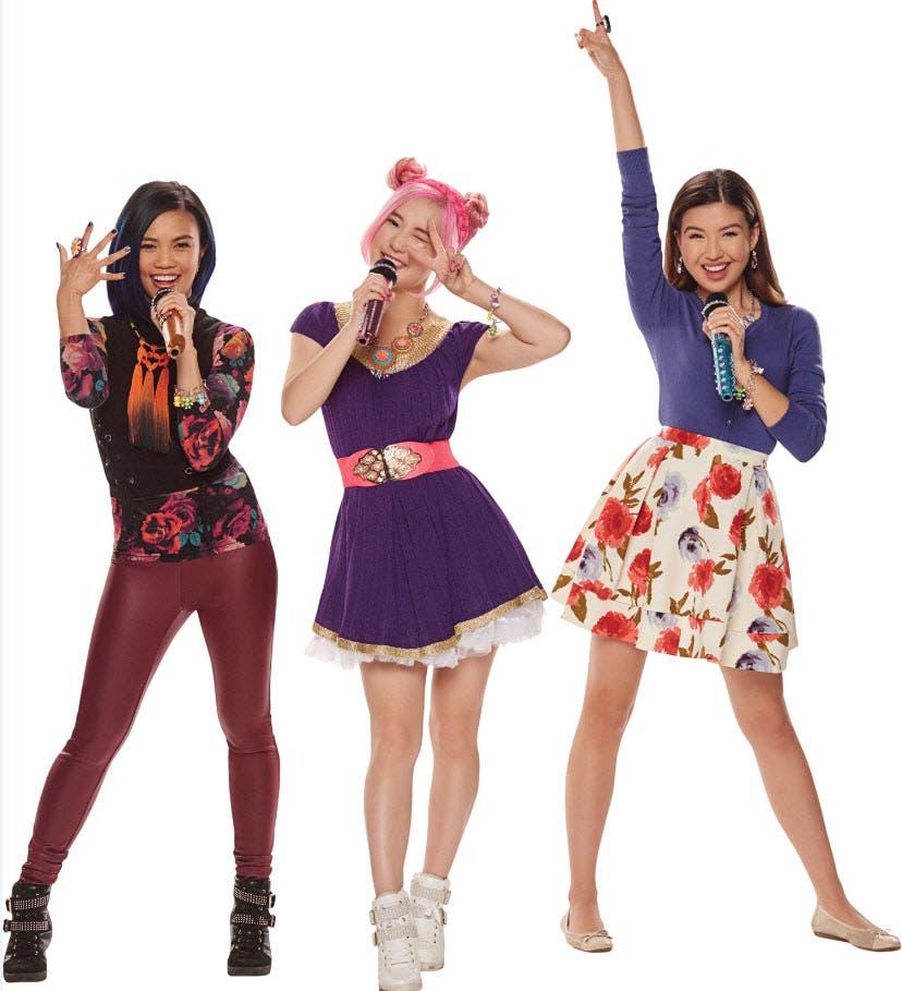 "Megan Lee (Sun Hi) with co-stars Louriza Tronco (Jodi) and Erika Tham (Corki) in ""Make It Pop"" Season 2"
