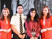 "The ""AirAsia Travel Photographer 2016"", Ms. Kimberly Pauig (3rd from left) together with the Philippines AirAsia Pilot and Cabin Crew."