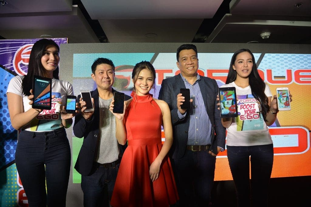 Torque Mobile CEO Mr. Chris Uyco (2nd from left), Torque's brand ambassador Ms. Elisse Joson, and Mr. Ian Garcia, Business Unit Sales Head during the launch of Torque's Ego Series 1.0.