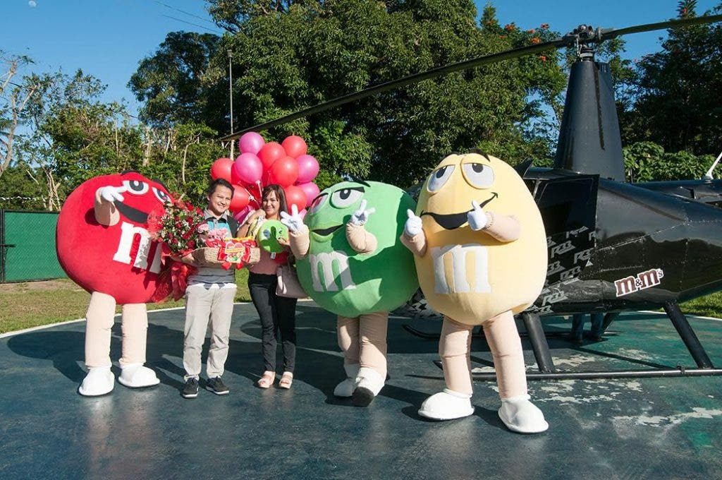 Jessa and Froilan surprised by M&M's Red, Yellow and Green in Tagaytay.